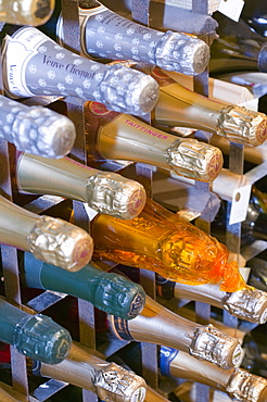 Champagne bottles in Storrs Hall Hotel wine cellar in Windermere, Cumbria, England, United Kingdom, Europe