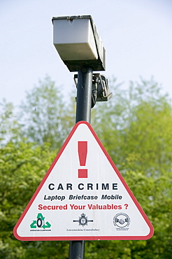 CCTV in a hotel car park warning sign, Leicester, Leicestershire, England, United Kingdom, Europe