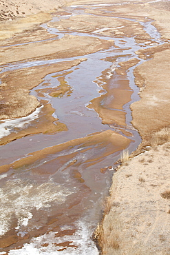 A critically low river in Shanxi province, China, Asia