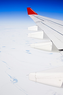 Melt water lakes on the Greenland ice sheet in West Greenland from the air, Polar Regions