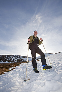 A mountaineer on Cairngorm in the Cairngorm National Park, Scotland, United Kingdom, Europe