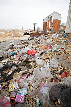 Rubbish lies piled up in the streets of Dongsheng in Inner Mongolia, China, Asia