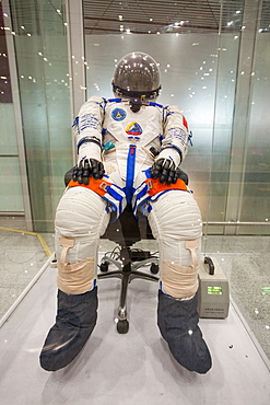 Chinese astronaut's suits on display in Beijing airport, China, Asia