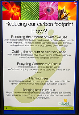 A poster outlining how Hayes Garden Centre is reducing its carbon footprint, in Ambleside, Cumbria, England, United Kingdom, Europe