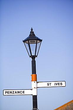 A signpost in St. Just, Cornwall, England, United Kingdom, Europe