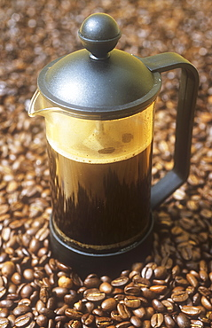 A cafetiere of coffee