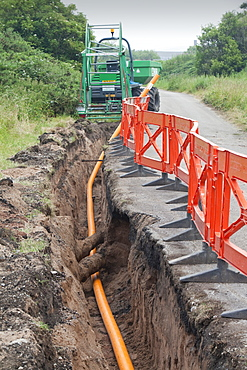 A pipeline being laid in Barrow in Furness, Cumbria, England, United Kingdom, Europe