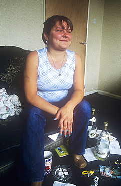 A young mum at a council house on the sink estate of Raffles, Carlisle, Cumbria, England, United Kingdom, Europe