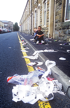 Litter on the streets of Burnley, Lancashire, England, United Kingdom, Europe