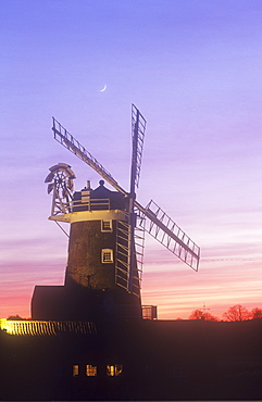 Cley windmill at sunset, Norfolk, England, United Kingdom, Europe