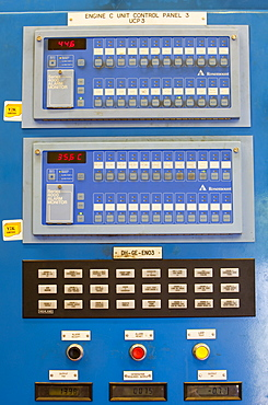 A control panel for the biogas boilers at Daveyhulme wastewater treatment plant in Manchester, England, United Kingdom, Europe