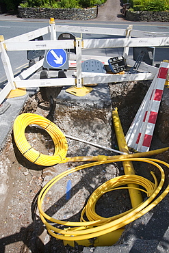 Laying a new gas pipeline in Ambleside, Cumbria, England, United Kingdom, Europe