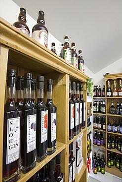 Locally produced liquor at Plumgarths farm shop in Kendal, Cumbria, England, United Kingdom, Europe