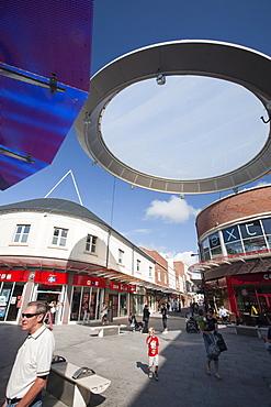 The newly refurbished pedestrian shopping precinct in Workington town centre, Cumbria, England, United Kingdom, Europe