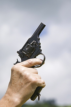 A starting pistol at Ambleside Sports, Lake District, Cumbria, England, United Kingdom, Europe