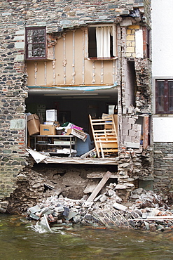 House in Keswick next to the River Greta, collapsed after it was undermined by the flood waters, Keswick, Lake District, Cumbria, England, United Kingdom, Europe