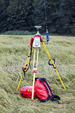 A differential GPS being used in real time kinematic survey, to survey the extent of the Durham canyon flooding feature, County Durham, England, United Kingdom, Europe