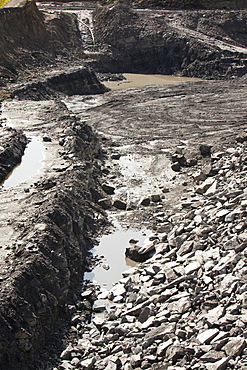 The Glentaggart open cast coal mine to a roadhead for onward transport by road in Lanarkshire, Scotland, United Kingdom, Europe