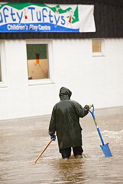 A flooded children's nursery in Ambleside, Lake District, Cumbria, England, United Kingdom, Europe