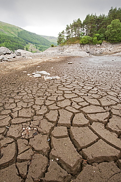 Thirlmere reservoir the day before a hosepipe ban came into effect in the North West, Lake District, Cumbria, England, United Kingdom, Europe