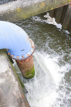 A pumping station at Talacre on the North Wales coast keeping the reclaimed salt marsh dry by pumping, Wales, United Kingdom, Europe