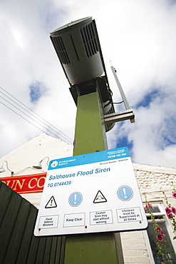 A flood siren to warn of coastal flooding at Salthouse on the North Norfolk coast, Norfolk, England, United Kingdom, Europe