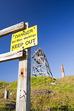 A warning sign at an area of old tin mines in Botallack, Cornwall, England, United Kingdom, Europe
