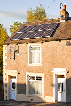 Solar panels on the roof of a terraced house in Clitheroe, Lancashire, England, United Kingdom, Europe