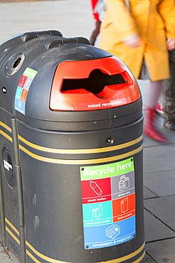 A recycling bin on the South Bank, London, England, United Kingdom, Europe