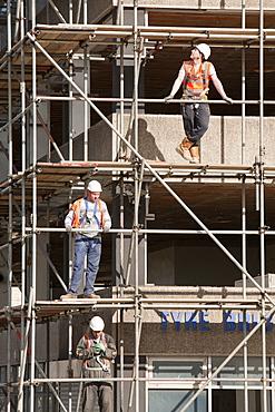 Scaffolders working on a building in Gateshead, Tyneside, England, United Kingdom, Europe