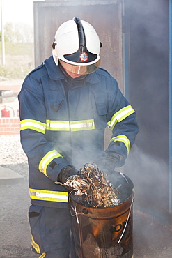 A fire fighting exercise as part of a BOSIET course for offshore workers, Billingham, Teesside, England, United Kingdom, Europe