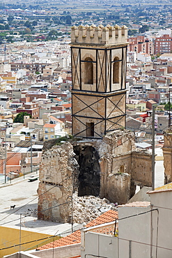 Earthquake damage to an old church, part of which collapsed, Lorca, Andalucia, Spain, Europe