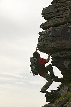 A climber on Quinag, Sutherland, Highlands, Scotland, United Kingdom, Europe