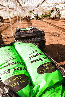 Peat-free compost at Growing with Grace, an organic fruit and vegetable growing co-operative based in Clapham in the Yorkshire Dales, Yorkshire, England, United Kingdom, Europe