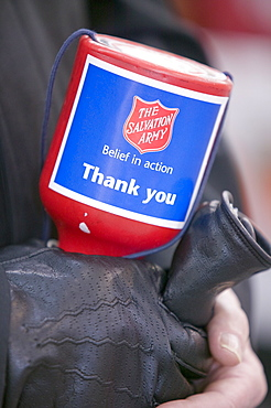 A Salvation Army member collecting donations, United Kingdom, Europe