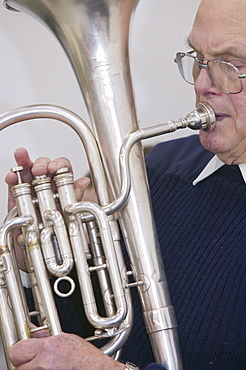A Salvation Army member playing in the band, United Kingdom, Europe
