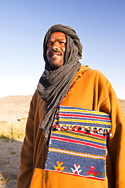 A Berber guide on a Trek in the Jebel Sirwa region of the Anti Atlas mountains of Morocco, North Africa, Africa