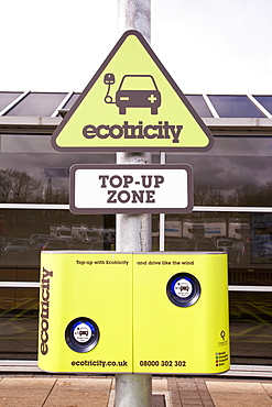 An electric car recharging station at the Charnock Richard M6 motorway service station, Lancashire, England, United Kingdom, Europe