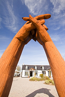 The Big Dance sculpture by artist Ray Lonsdale in the Sculpture Garden at the world famous Gretna Green Blacksmiths shop, Scotland, United kingdom, Europe