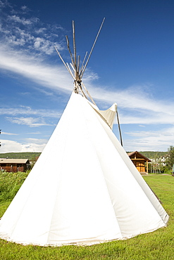 An old preserved First Nation wigwam in the museum in Fort McMurray, Alberta, Canada, North America