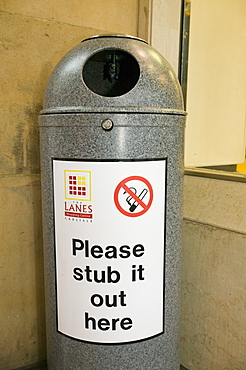 A bin for fag ends in a shopping centre in Carlisle, Cumbria, England, United Kingdom, Europe