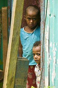 Two young Fijian boys in Bukaya in the Fijian highlands, Fiji, Pacific