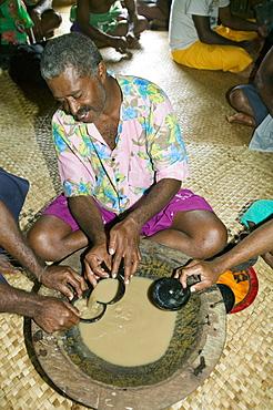 A kava drinking ceremony in Navala village in the Fijian highlands, Fiji, Pacific