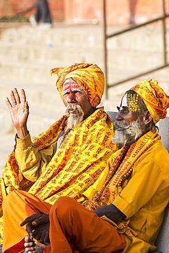 Sadhus (Hindu holy men) in Kathmandu, Nepal, Asia
