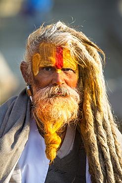 Sadhu (Hindu holy man) in Kathmandu, Nepal, Asia