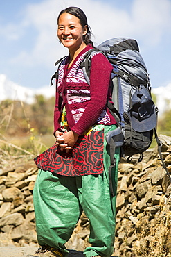 A Nepalese woman sirdar carrying a load in the Himalayas, Nepal, Asia