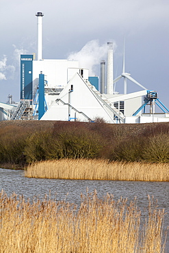 The new biofuel power plant at the Iggesund paper board manufacturer, with wind turbines behind, Workington, Cumbria, England, United Kingdom, Europe