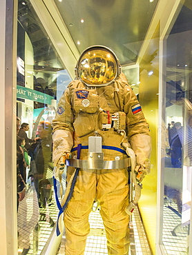 An astronaut's suit at the National Space Centre in Leicester, England, United Kingdom, Europe