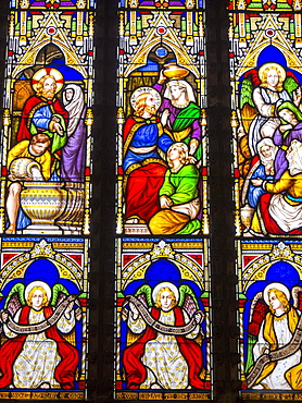 Stained glass windows in St. Laurence's Church in Ludlow, Shropshire, England, United Kingdom, Europe