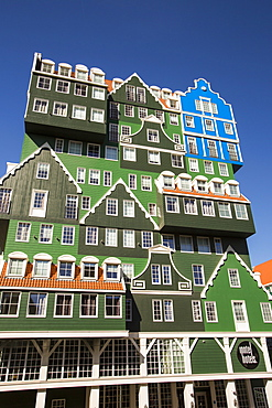 An ultra trendy, modern hotel in Zaanstadt, which is designed to look like the traditional house style of the area, Netherlands, Europe